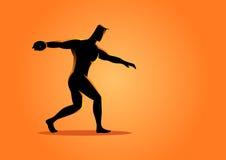 Silhouette of a discus throw athlete Royalty Free Stock Photo