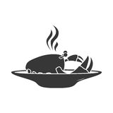 Silhouette dish with hot crab Stock Photos