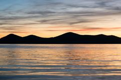 Silhouette of distant mountains. Of Dalmatian islands Stock Photo