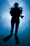 Silhouette of a diver Stock Photography