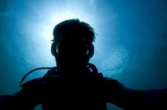 Silhouette of a diver Stock Photos