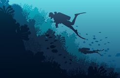 Silhouette of diver, coral reef and underwater. Cave on a blue sea background. illustration Stock Images