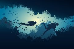 Silhouette of diver, coral reef and underwater. Cave on a blue sea background. illustration Royalty Free Stock Photos