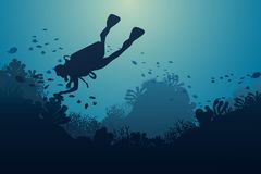Silhouette of diver, coral reef and underwater. Cave on a blue sea background. illustration Royalty Free Stock Image