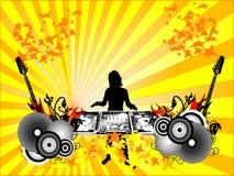 Silhouette DJ de la fille Photos libres de droits