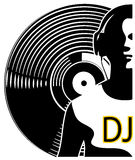 Silhouette of a DJ wearing headphones Stock Photography