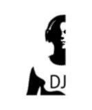Silhouette of a DJ wearing headphones in style grunge Stock Photo