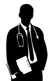 A silhouette of a doctor. Isolated against white background Royalty Free Stock Photography