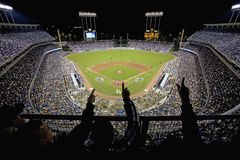 Silhouette of Dodger fans Stock Photo