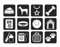 Silhouette dog accessory and symbols icons Stock Photo