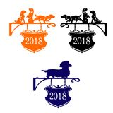 Silhouette of a dog collection 2018 orange, black, blue, cart royalty free illustration