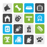 Silhouette Dog and Cynology object icons Royalty Free Stock Photo