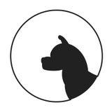 Silhouette of a dog head akita Royalty Free Stock Photos