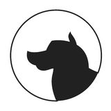 Silhouette of a dog head alaskan malamute Royalty Free Stock Photography