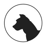 Silhouette of a dog head american pitt bull terrier Royalty Free Stock Image