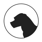 Silhouette of a dog head american staffordshire terrier Stock Images