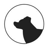 Silhouette of a dog head border collie Stock Photos
