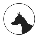 Silhouette of a dog head doberman pinscher. Portrait pedigree doggy, vector illustration Stock Photos