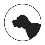 Silhouette of a dog head english mastiff Stock Photos
