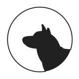 Silhouette of a dog head siberian husky Stock Photos