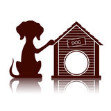 Silhouette of a dog near the doghouse illustration. On the image presented Silhouette of a dog near the doghouse illustration stock illustration