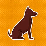 Silhouette dog sit yellow  dot background Royalty Free Stock Images
