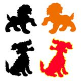 Silhouette of dog-symbol of the year red, yellow, black,, cart Royalty Free Stock Images