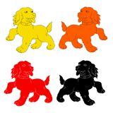 Silhouette of dog-symbol of the year red, yellow, black, orange Royalty Free Stock Photo