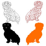 Silhouette of dogs black, orange, cartoon on a white background. vector illustration