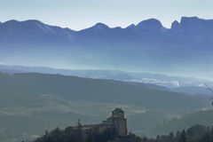 Silhouette of Dolomites. Dolomite mountain range in Northern Italy, silhouetted against the sky Stock Image