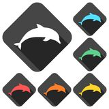 Silhouette dolphin icons set with long shadow. Vector icon Stock Photos