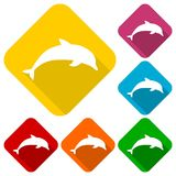 Silhouette dolphin icons set with long shadow. Vector icon Royalty Free Stock Image