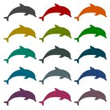Silhouette dolphin icons set with long shadow. Vector icon Royalty Free Stock Photo