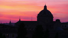 Silhouette dome, sunset in rome, italy, timelapse, 4k stock footage