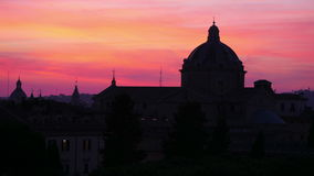 Silhouette dome, sunset in rome, italy, timelapse, 4k stock video