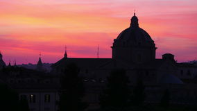 Silhouette dome, sunset in rome, italy, timelapse, zoom in, 4k stock video