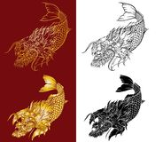 Dragon head and koi carp fish in circle design for tattoo. Silhouette and doodle art koi dragon fish with cherry blossom on water wave and cloud background Royalty Free Stock Image