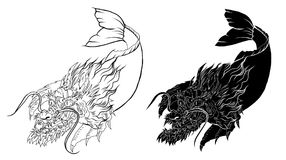 Dragon head and koi carp fish in circle design for tattoo. Silhouette and doodle art koi dragon fish with cherry blossom on water wave and cloud background Royalty Free Stock Photo