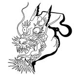 Dragon head and koi carp fish in circle design for tattoo. Silhouette and doodle art koi dragon fish with cherry blossom on water wave and cloud background Stock Photography