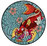 Dragon head and koi carp fish in circle design for tattoo. Silhouette and doodle art koi dragon fish with cherry blossom on water wave and cloud background Stock Photo