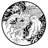Dragon head and koi carp fish in circle design for tattoo. Silhouette and doodle art koi dragon fish with cherry blossom on water wave and cloud background Stock Photos