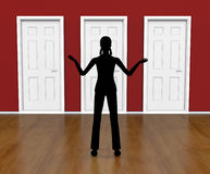 Silhouette Doors Means Doorways Direction And Choose Stock Photo