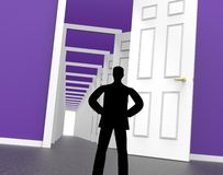 Silhouette Doors Represents Men Human And Outline Stock Photo
