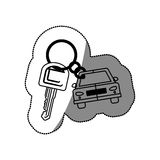Silhouette dotted sticker with keys and car keychain icon Stock Photos