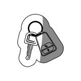 Silhouette dotted sticker with with keys and keychain Royalty Free Stock Photos