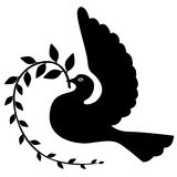 Silhouette dove with branch Stock Images