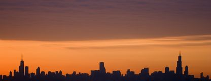 Silhouette of Downtown Chicago stock photography