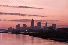 Silhouette of Downtown Cleveland. Seen early morning royalty free stock photos