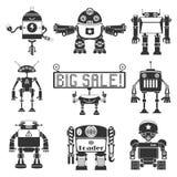 Silhouette drôle de robots Photographie stock