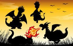 Silhouette dragon blowing fire. Illustration Royalty Free Stock Photos